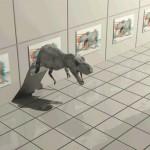 恐竜が2メートル前に飛び出して見えます(奥行として2メートル感じます)。